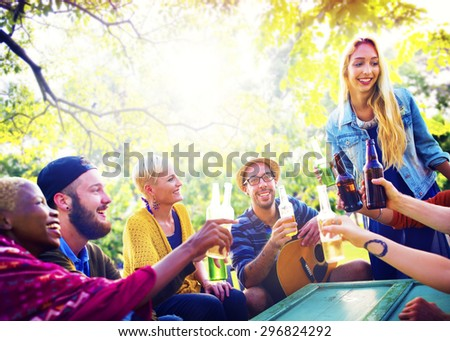 Friend Celebrate Party Picnic Joyful Lifestyle Drinking Concept #296824292