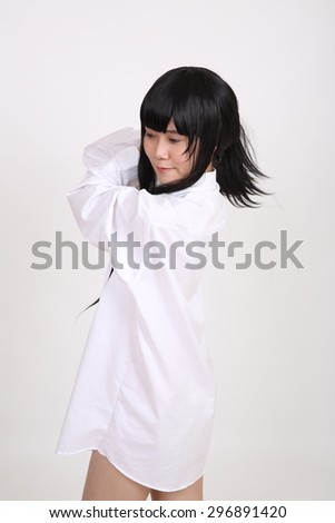 Asian girl with white shirt isolated in white background #296891420