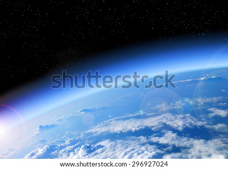 view of the Earth from space, blue planet and deep black space Royalty-Free Stock Photo #296927024