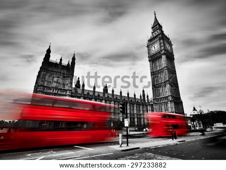 London, the UK. Red buses in motion and Big Ben, the Palace of Westminster. The icons of England in black and white with red colour. #297233882