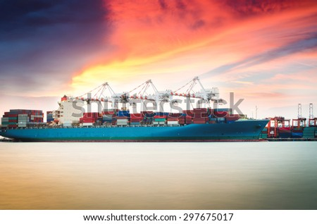 Containers loading by crane at dark , Trade Port , Shipping #297675017