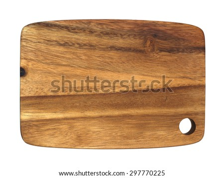 Wooden cutting board isolated on white background #297770225