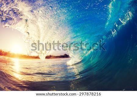 Sunrise Wave, Tropical Island Atoll, Nature Untouched Paradise   Royalty-Free Stock Photo #297878216