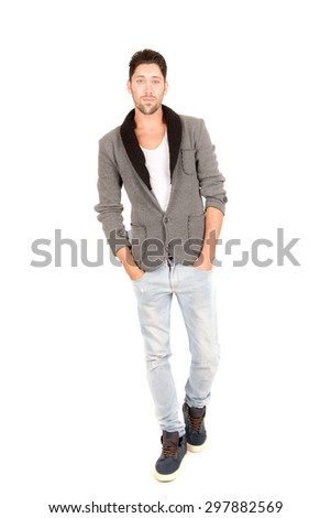 young man isolated in white background #297882569