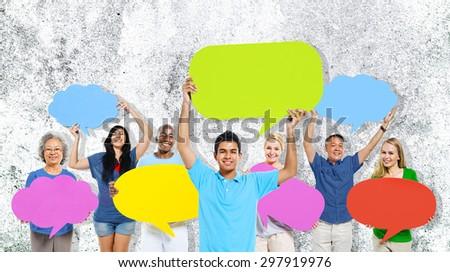 Diversity People Holding Colorful Speech Bubbles Concept #297919976