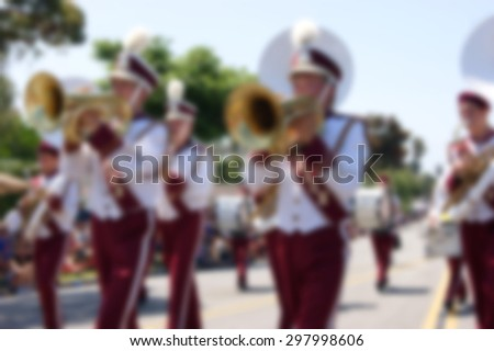 blur background of marching band in parade