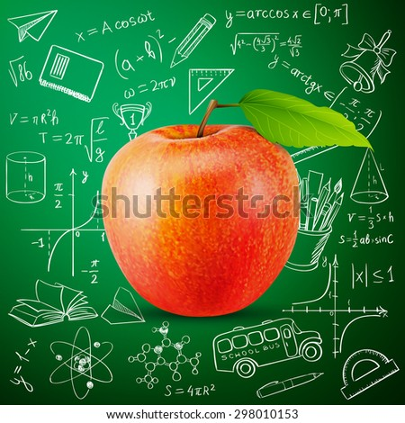tasty apple and hand draw school icon