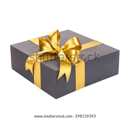 Black gift box with gold bow. #298139393