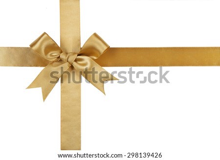 Gold ribbon with bow isolated on white background. #298139426