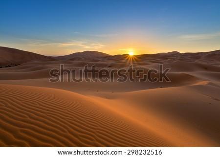 view of Erg Chebbi Dunes -  Sahara Desert - at sunrise, in Morocco #298232516