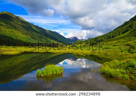 A view from Slate River at Crested Butte, Colorado in early July #298234898