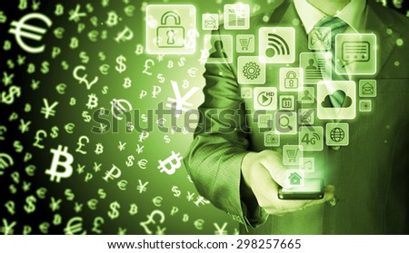 Business man using smart phone with social media icon set #298257665