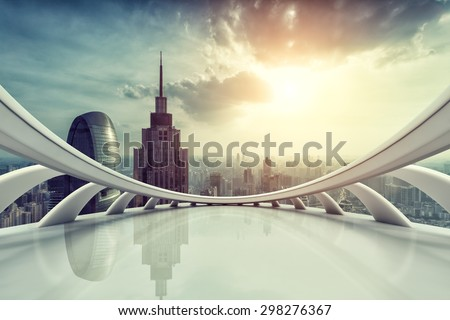 Modern city skyline with empty indoor floor at sunset  #298276367