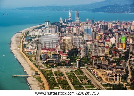 BATUMI, GEORGIA - JULY 20: Aerial view of seaside city on Black Sea coast, Batumi, Georgia. #298289753