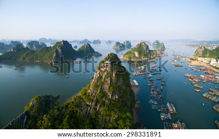 Beautiful sea landscape in Ha Long Bay, Vietnam. Royalty-Free Stock Photo #298331891
