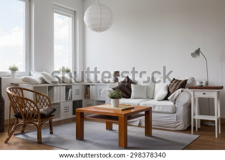 White and brown designed living room interior #298378340