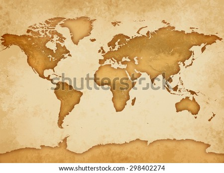 An old Parchment with a very detailed world map