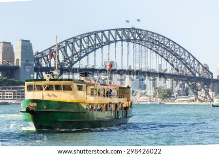 Sydney Harbour City Ferry in Circular Quay with Sydney Harbour Bridge background Royalty-Free Stock Photo #298426022