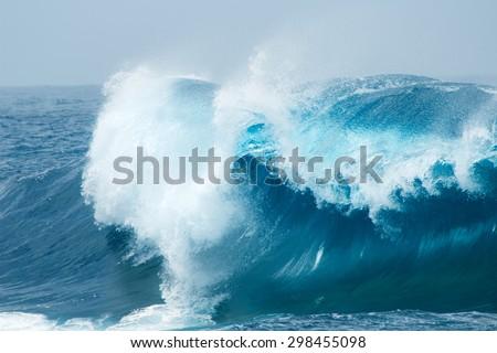 powerful ocean waves breaking natural background #298455098