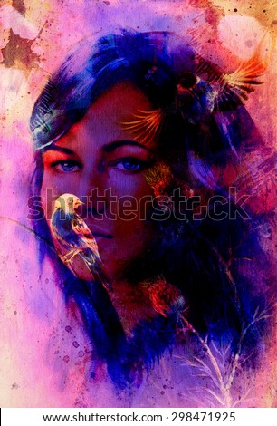 Young woman portrait, and blue eye , with bird, color painting and spots structure, Abstract background #298471925