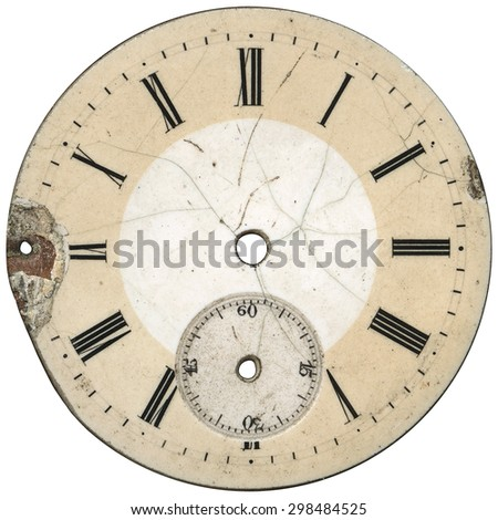 Cracked and dirty face of vintage pocket watches - isolated on white #298484525