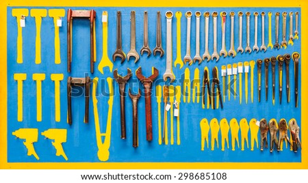 Organized tools on wall for maintenance #298685108