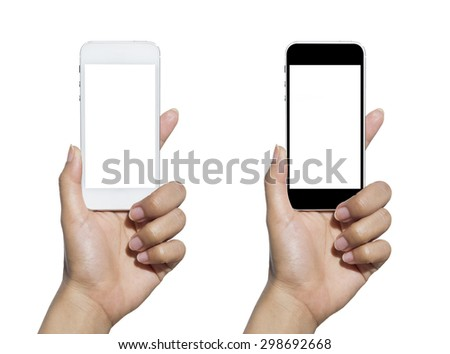 Hand holding touch screen mobile phone. Isolated on white. #298692668