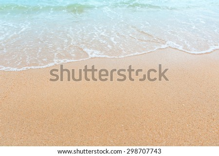 Wave of the sea on the sand beach, summer sand beach background #298707743