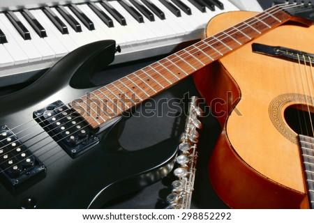 Musical instruments, closeup Royalty-Free Stock Photo #298852292