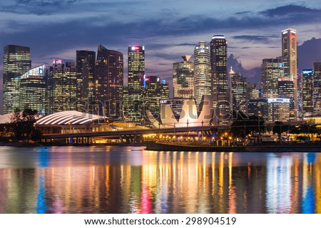 SINGAPORE - OCTOBER 16, 2014: ArtScience Museum is one of the attractions at Marina Bay Sands, an integrated resort in Singapore.  #298904519