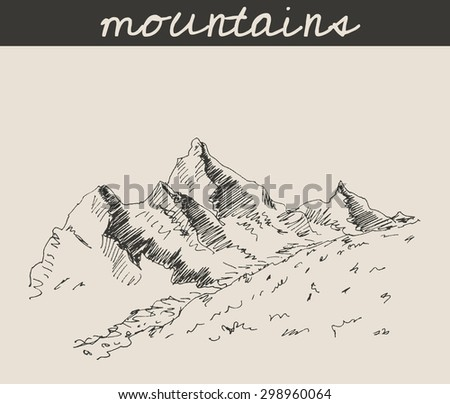 Mountain sketch hand drawing, in engraving etching style, for extreme sport, adventure travel  and  tourism design #298960064