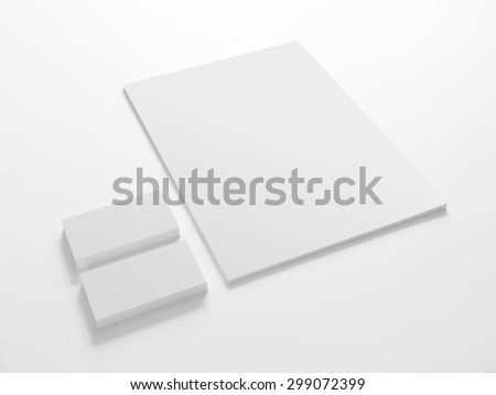 Business cards and a paper isolated on white. Stationery corporate identity template mock-up. Royalty-Free Stock Photo #299072399
