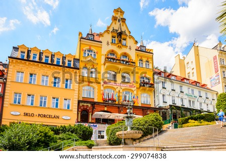 KARLOVY VARY, CZECH REPUBLIC - JUNE 30, 2015: Architecture of Karlovy Vary, Czech Republic. It is the most visited spa town in the Czech Republic #299074838