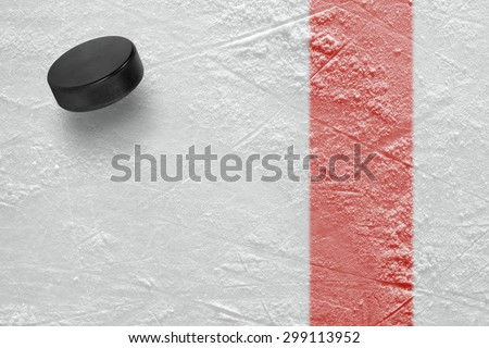 Hockey puck on the site. Texture, background