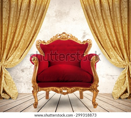 Room with golden curtains and royal armchair Royalty-Free Stock Photo #299318873