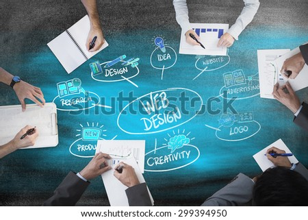 Business meeting against black background #299394950