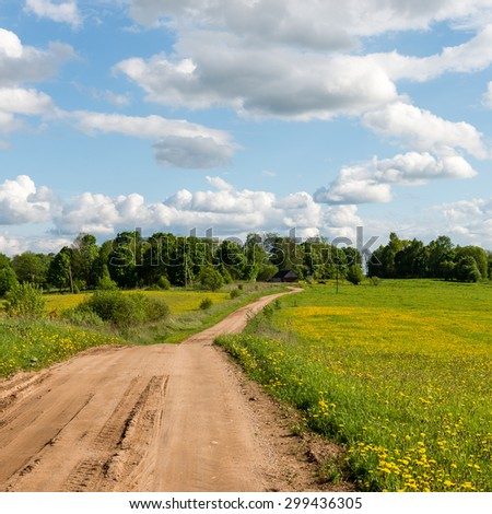 empty road in the countryside with trees and meadows in surrounding. perspective.. square image. #299436305