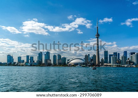 The beautiful Toronto's skyline over Lake Ontario. Urban architecture.