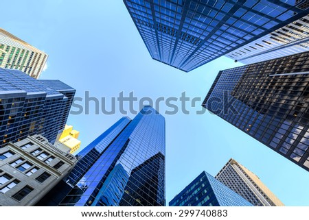 Up view in financial districtg, Manhattan, New York #299740883