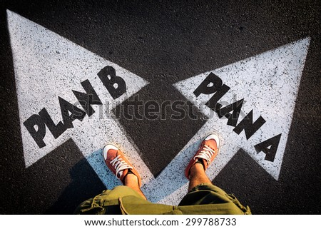 Plan A and Plan B dilemma concept with man legs from above standing on signs #299788733