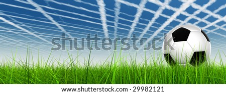 3d leather black and white soccer ball on green grass over a natural blue sky banner with plane trace or trail as background with white clouds, ideal for sport and leisure designs #29982121