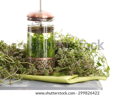 Herbal tea with thyme - isolated background #299826422