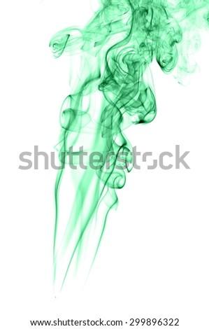 Abstract green smoke on white background, smoke background,green ink background,green, beautiful color smoke #299896322