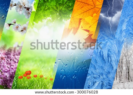 Beautiful nature collage - four seasons of year collage, vibrant images of different time of year - winter, spring, summer, autumn Royalty-Free Stock Photo #300076028