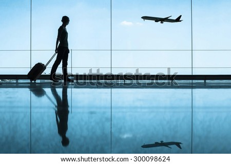 travel concept, people in the airport Royalty-Free Stock Photo #300098624