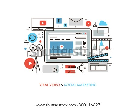 Thin line flat design of viral video production, digital marketing campaign, internet medium mass communication, social media sharing. Modern vector illustration concept, isolated on white background.