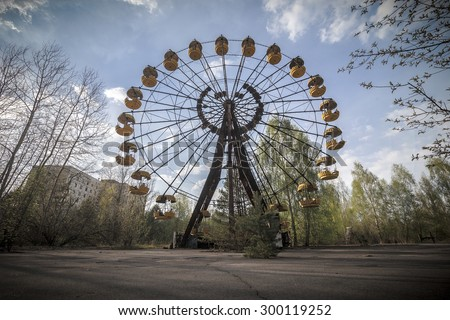 The abandoned Ferris wheel in the amusement park in Pripyat. Chernobyl nuclear power plant zone of alienation #300119252