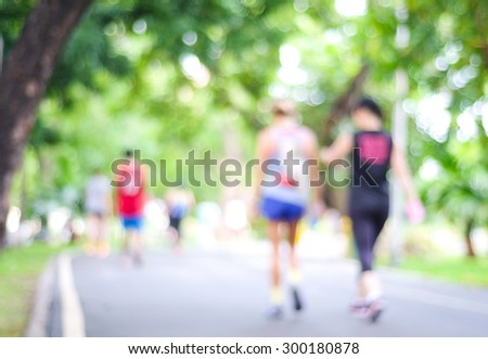 Blurred background of people activities in park with bokeh light, spring and summer #300180878