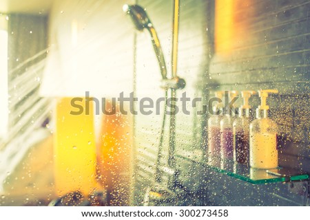 Shower while running water ( Filtered image processed vintage effect. ) #300273458