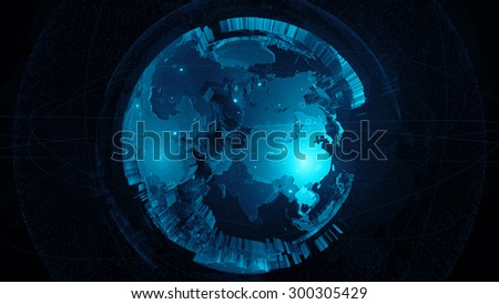 detailed globe 3d render. two globes one inside another with rich details and surrounded elements. #300305429